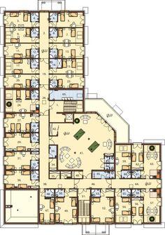 Projekt Budynek usługowo-gastronomiczny z zapleczem noclegowym Condominium Architecture, Architecture Site Plan, Hotel Design Architecture, Modern House Floor Plans, Dream House Plans, Hotel Bedroom Design, Design Hotel, Hotel Floor Plan, House Construction Plan