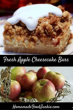 You are sure to reach for seconds with this Fresh Apple Cheesecake Bars recipe! And it's perfect for the Fall season! Add this to your apple recipes collection! 13 Desserts, Kinds Of Desserts, Apple Desserts, Party Desserts, Best Dessert Recipes, Apple Recipes, Sweet Recipes, Delicious Desserts, Fruit Recipes