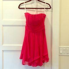 David's Bridal Bridesmaid Dress Flowy, soft chiffon dress in Punch color. David's Bridal Dresses Strapless