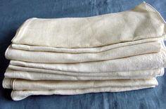 Set of 10 Antique Fine White Linen Napkins. c1930 by chalcroft, $12.00