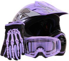 Youth Offroad Gear Combo Helmet Gloves Goggles DOT Motocross ATV Dirt Bike MX Motorcycle Purple - XL