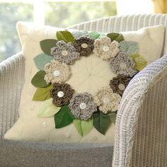 cream flower wreath blanket cushion by emily brown design | notonthehighstreet.com