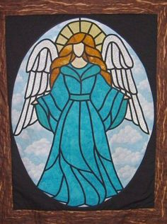 ACTUALLY LIKE ANOTHER ANGEL ON THE SITE. Stained Glass Angel Window Hanging~