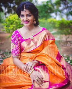 A South Indian bride's pride is her gorgeous Kanchipuram sarees which are further complimented by the colourful, matching bangles. The traditional sarees and bangles combo enhance and accentuate he. Bridal Silk Saree, Pink Saree, Orange Saree, Silk Thread Bangles, Indian Silk Sarees, Indian Look, Indian Bridal Wear, South Indian Bride, Sari