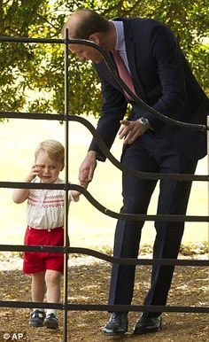 Prince George gets teary at Princess Charlotte's christening