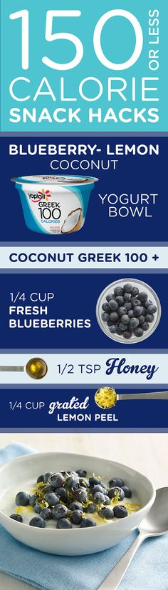 Love all things coconut? Try this 150 Calorie or Less Blueberry Lemon Coconut Yogurt Bowl! With blueberries, honey and fresh grated lemon peel added on top of a Yoplait Greek 100 Coconut for a snack your taste buds will love.