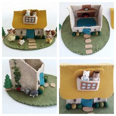 Thatched Roof Cottage Playscape Play Mat - wool felt dollhouse pretend play - storytelling fantasy storybook fairytale - turquoise door toy by MyBigWorld2015 on Etsy