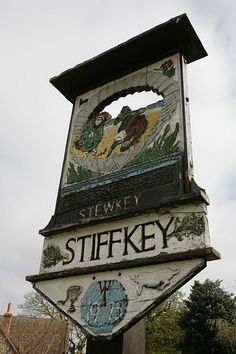Stiffkey in Norfolk, England. The place-name 'Stiffkey' is first evidenced in the Domesday Book of 1086, and means 'stump island, island with stumps of trees.'