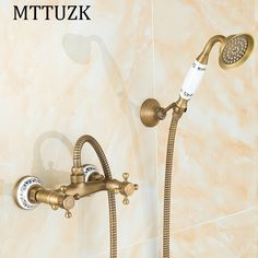 58.21$  Buy now - http://ali0gm.shopchina.info/1/go.php?t=32805550406 - MTTUZK Antique Brass Shower Set Hot and Cold Mixer Double Handle Shower with porcelain Wall Mounted Shower Set Free Shipping  58.21$ #bestbuy