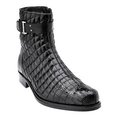 BELVEDERE LIBERO BLACK GENUINE ALLIGATOR AND SOFT QUILTED LEATHER BOOTS
