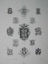 "Benoit monogrammes french 19th century engraving 12 x 17"" $110"