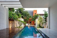 Casa Cardenas - Vacation Rental Home in Merida, Yucatan, Mexico Outdoor Pool, Outdoor Spaces, Indoor Outdoor, Outdoor Living, Villa Design, House Design, Conception Villa, Rue Verte, Photo Grid