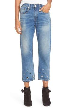 rag & bone/JEAN Vintage High Rise Crop Jeans (Hyfield Eyelet)