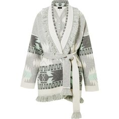 Alanui Fringed jacquard-knit cashmere cardigan (€2.630) ❤ liked on Polyvore featuring tops, cardigans, alanui, cashmere, grey, jacquard, fringe cardigans, oversize cardigan, oversized grey cardigan and grey cardigan