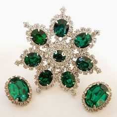 Kramer 1950's Brooch Earring Set Green Rhinestones Vintage | eBay