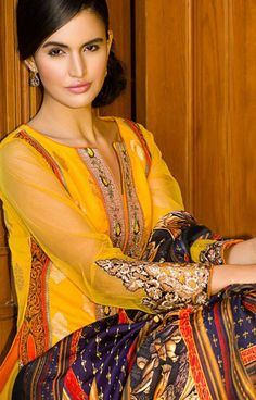 Yellow Embroidered Lawn Suit $169.99 DESIGNER LAWN 2014 Pakistani Indian Dresses Online, Men Women Clothing and Shoes | PakRobe.com