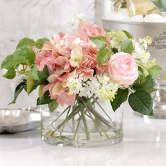 I pinned this Faux Rose & Hydrangea Arrangement from the Zodax event at Joss and Main!