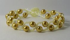 This item made with gold glass pearl bead and Japanese seed beads. If you like this item you can  find in my website. en.dawanda.com/shop/akcrystalbead