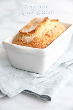 Sweet bread is easy to eat for breakfast, a snack or dessert. It's just as easy to make as it is to enjoy. Sweet bread takes just 5 minutes hands on time and requires just staple ingredients. Breakfast Bread Recipes, Quick Bread Recipes, Savory Breakfast, Cooking Recipes, Breakfast Dessert, Breakfast Ideas, Easy Recipes, Brunch Ideas, Popular Recipes