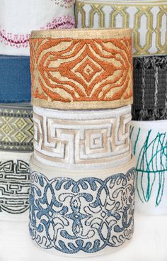 "Inspired by India's ""Craft Revival"" trend, Fabricut's Embroidered and Woven Tapes collection reflects global art and cultural motifs in a mix of tempting textures, stimulating colors and alluring finishes."