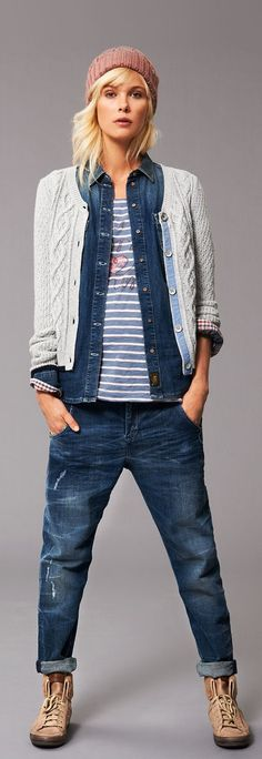 Hilfiger Denim, for a casual stroll in the park Fashion Mode, Tomboy Fashion, Denim Fashion, Womens Fashion, Tomboy Style, Hilfiger Denim, Tommy Hilfiger, Mode Outfits, Jean Outfits