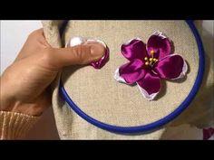 Красивый и простой цветок из атласной ленты /A beautiful and simple flower made from satin ribbon - YouTube