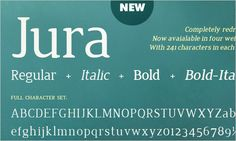 Jura is an elegant serif typeface with narrow proportions and distinguishing details. The rounded, wedge-shaped serifs offer a contemporary feel and also achieve to maintain legibility even with its range of small sizes. This typeface is available in four weights: Regular, Italic, Bold and Bold Italic and is available for free download and use.