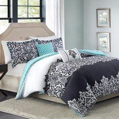 5pc Adorable Teen Girl Black Teal Damask Full Queen Comforter Set BHG www.amazon.com/…
