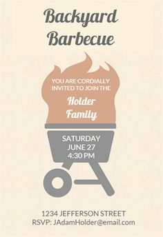 bbq basics printable invitation template customize add text and photos print