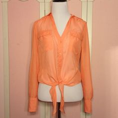 Coral Button Up Lace Back Top. Lace back button up sheer top in coral. Candie's Tops Button Down Shirts