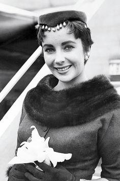 Elizabeth Taylor at the Santa Monica airport, 1954.
