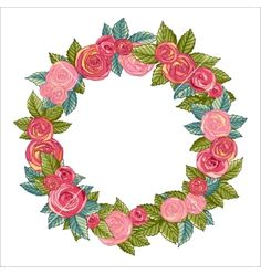 Rose wreath vector floral frame by Jallom on VectorStock®