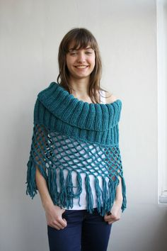 Teal Knit Poncho Capelet Christmas Gift under75