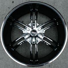 black and chrome rims | ... inch chrome w black cover automotive rims 22 wheels set of four