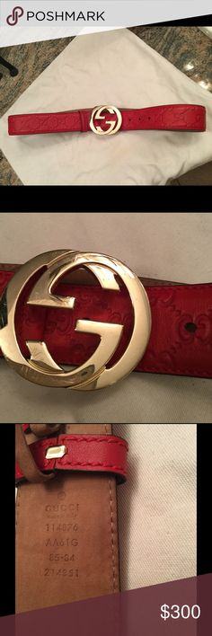 Authentic  Gucci belt. - Red Women's Authentic Red Gucci belt. Worn approximately 3 times. No longer needed. Receipt pictures provided. Price is non negotiable and I do not trade. Gucci Accessories Belts