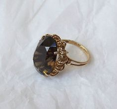 Vintage Smoky Topaz Cocktail Ring by MargsMostlyVintage on Etsy, $360.00