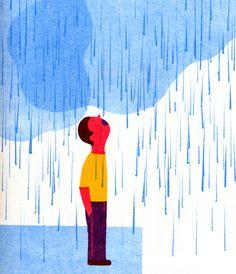 Lab 2 Reference Image : A Cloudy Rainy Day ☁ ☂ blexbolex Umbrella Illustration, Rain Illustration, Poster Prints, Illustration, Illustration Artwork, Drawings, Graphic Design Illustration, Retro Illustration, Comic Illustration