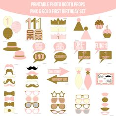 Instant Download First Birthday Pink & Gold Glitter Printable Photo Booth Prop Set — Amanda Keyt DIY Photo Booth Props & More!
