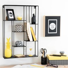 Wandregal aus Metall, schwarz, H 60 cm, YELLOW SUMMER | Maisons du Monde