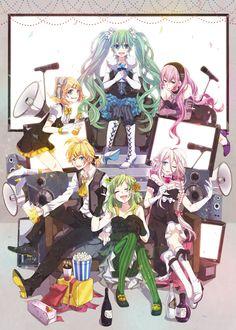 Tags: Fanart, Hatsune Miku, Vocaloid, Kagamine Rin, Kagamine Len, Megurine Luka, GUMI, Pixiv, Shiroyama Ayako, Fanart From Pixiv, IA