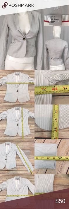 🍒Size 4 H&M Pinstriped 1 Button Blazer Jacket Measurements are in photos. Normal wash wear, no flaws. F1/42  I do not comment to my buyers after purchases, due to their privacy. If you would like any reassurance after your purchase that I did receive your order, please feel free to comment on the listing and I will promptly respond.   I ship everyday and I always package safely. Thank you for shopping my closet! H&M Jackets & Coats Blazers