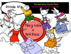 """This """"The Red Dress"""" Clipart collection includes all the images shown in the sample picture and more. This clipart pack is a parody of the book Mary Wore a Red Dress. This group includes 20 different clips:* Black line masters of all clips* Red dress* Green shoes* Yellow sweater* Purple ribbons* Blue jeans* Pink hat* Brown scarf* So CuteGraphics come in PNG format 300 dpi format.My graphics are suitable for printing and digital projects and can be easily re-sized smaller to suit other…"""
