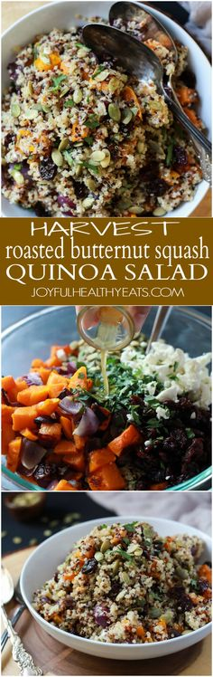 The BEST Roasted Butternut Squash Quinoa Salad with a secret creamy element and surprise spice that makes this salad dish pop with flavor. This Quinoa Salad is a rock star gluten free vegetarian recipe you need on your table this fall. | joyfulhealthyeats.com #recipes