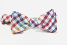 rainbow gingham seersucker freestyle bow tie by dotandace on Etsy, $30.00