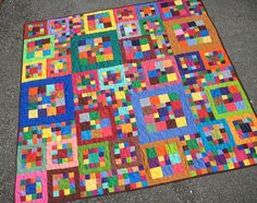 Colorful Modern Patchwork Baby Quilt by PippaQuilts on Etsy