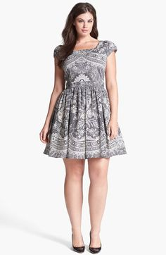 c95c4197c49 ABS by Allen Schwartz Lace Print Fit & Flare Dress (Plus Size) | Nordstrom