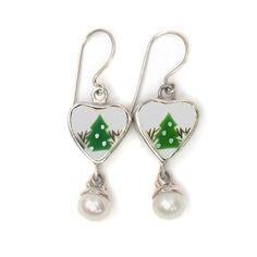 Broken China Jewelry Sleighride Winter Christmas Tree Sterling Heart w Pearl Earrings