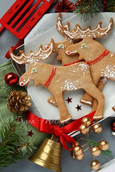 Homemade christmas cookies with christmas decoration. Elk shapes.