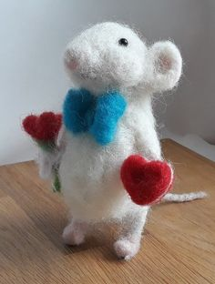 Wool art Mouse needle felting animal toy souvenir gift waldorf love little