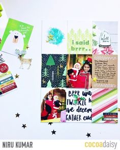 I Said Brrr, by Niru Kumar using the Fair Isle collection from www.cocoadaisy.com #cocoadaisy #kitclub #memorykeeping #scrapbooking #pocketpages #projectlife #layout #diecuts #puffy #stickers #stamping #journaling #sequins #stars #fairisle